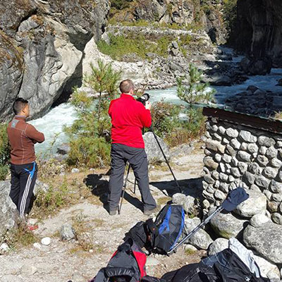 Behind the scenes of Returntonepal documentary. Filming the famous bridges over the Dudh Kosi (milk river) en route to Namche.